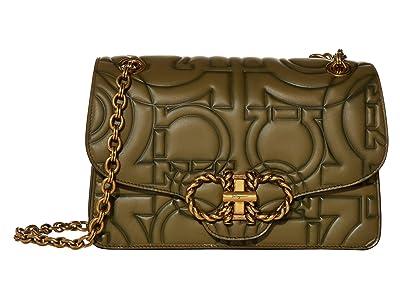 Salvatore Ferragamo Shaded Quilting Shoulder Bag (Khaki Green) Handbags