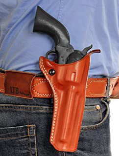 Premium Leather OWB Paddle Holster with Open Top Fits, Revolver Ruger Vaquero 45 Colt 3.75''BBL, Right Hand Draw, Brown Color #1829#