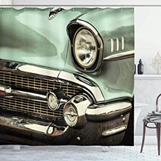 Ambesonne 1950s Decor Collection, Retro Style Image front of a Green Antique Car American Bumper History Luxury Polished Pattern, Polyester Fabric Bathroom Shower Curtain Set with Hooks, Light Jade