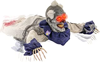 Halloween Haunters 2 Foot Animated Creepy Crawling Motion Clown Reaper Zombie Groundbreaker Moving Body LED Eyes Prop Decoration - Scary Spooky Howls, Laughs - Battery Operated, Haunted House Party