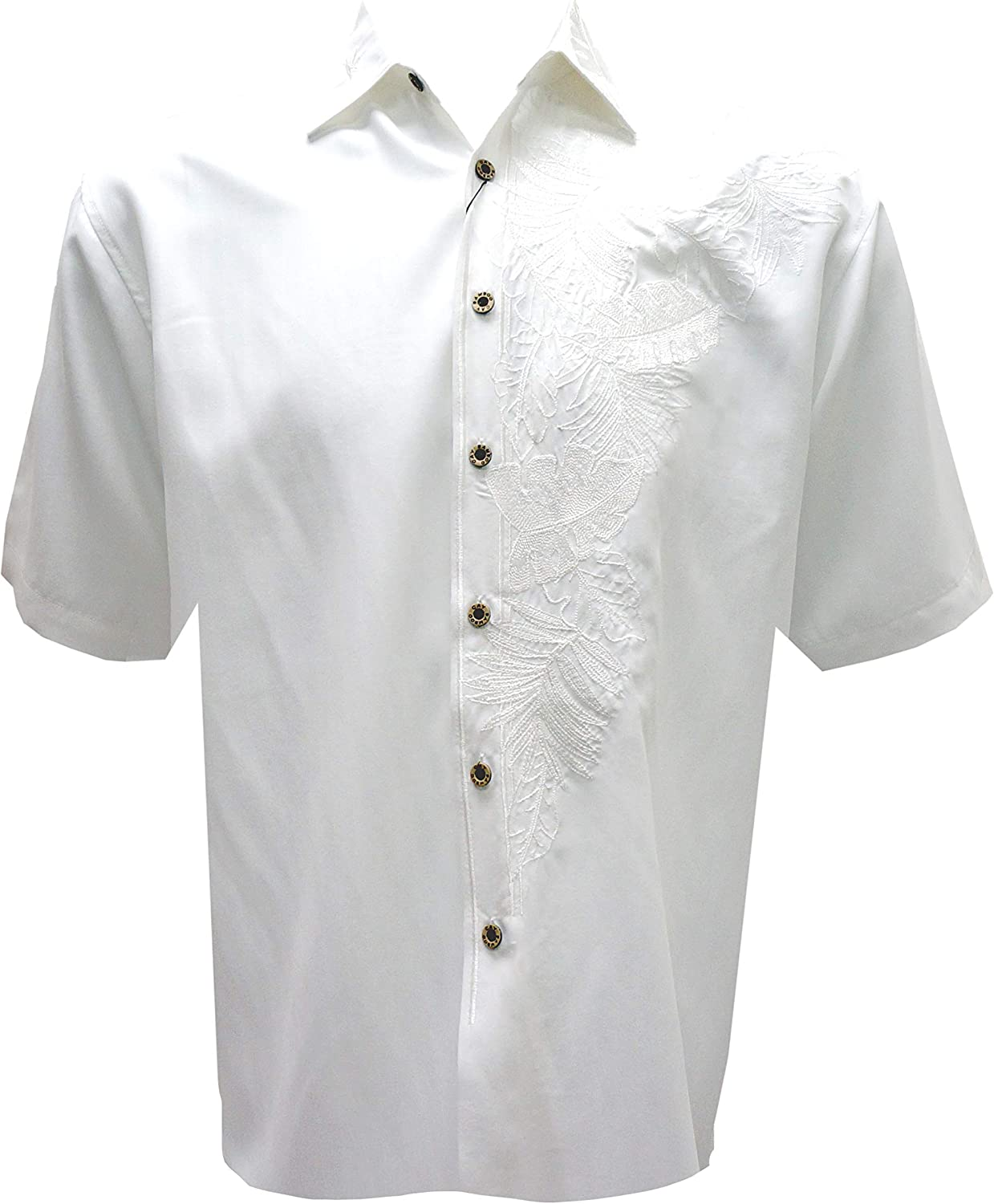 Bamboo Cay Mens Short Sleeve Island Leaf Nation Casual Embroidered Woven Shirt
