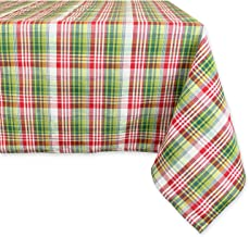 DII Machine Washable, Dinner and Holiday Tablecloth 52 x 90, Holly Jolly Plaid, Seats 6 to 8 People