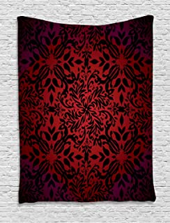 Ambesonne Red and Black Tapestry, Mandala Oriental Design Flowers and Leaves Frame Image, Wall Hanging for Bedroom Living Room Dorm Decor, 40