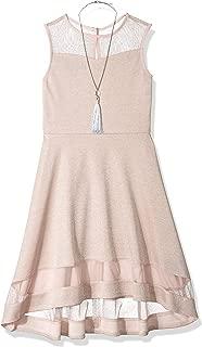 Amy Byer Girls' Big Knit Dress with Illusion Yoke and Hem