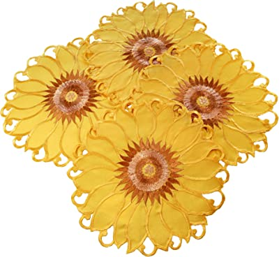 EcoSol Designs Sunflower Table Topper Centerpiece Placemats 15x15 4-Pack, Yellow