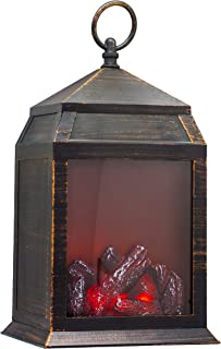 """YAKii 12"""" H Fireplace Lantern 6 Super Bright LEDs 6 Hours Timer Battery Operated, Hanging Sitting Decoration Indoor & Outd..."""
