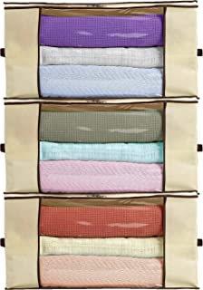 Ziz Home Blankets Clothes Storage Bag 3 Pack Breathable Anti-Mold Material Closet Organization Used for Linen Storage Blanket Storage Sweater Storage Duvet Storage Bags Eco-Friendly Clear Window