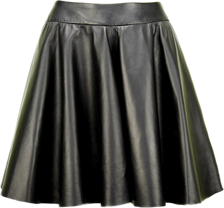 DX-Exclusive Wear Women's Leather Skirt, Black Circle Skirt KSP-0002