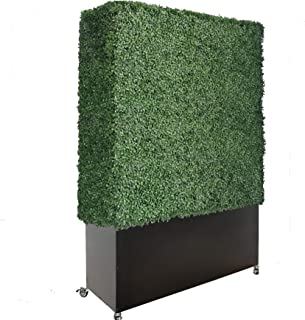 Artigwall Faux Boxwood Hedge Divider Wall with Planter Box and Stainless Steel Caster (79