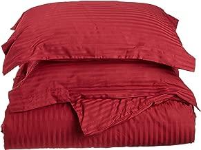 Superior 100% Premium Combed Cotton, Soft Single Ply Sateen, 3-Piece Duvet Cover Set, Stipe, Full/Queen - Burgundy