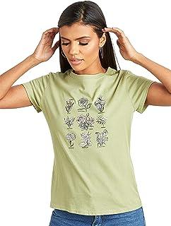 تي شيرت بقبة دائرية مطبع عليه رسومات زهور للنساء