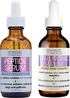Advanced Clinicals Hyaluronic Acid Serum and Peptide Serum with Collagen skin care set. Hydrating serums for wrinkles, dry...