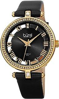 Burgi BUR228 Genuine Leather Women's Watch – Swarovski Crystal Studded Bezel, 2 Diamond Markers, See Through and Sunray Dial, Japanese Quartz