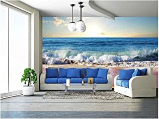 wall26 - Sea Sunset in Olympic Park Coast - Removable Wall Mural | Self-Adhesive Large Wallpaper - 100x144 inches