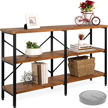 Best Choice Products 55in Rustic 3-Tier Console Sofa Table, Industrial Foyer Table for Living Room, Entry Way, Hallway w/EVA