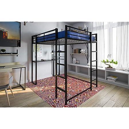 DHP Abode, Black Full-Size Loft Bed Metal Frame with Desk and Ladder