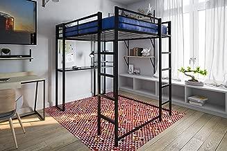 DHP Abode Full-Size Loft Bed Metal Frame with Desk and Ladder, Black