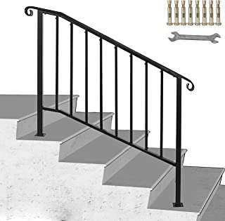 Happybuy Handrail Picket #3 Fits 3 or 4 Steps Matte Black Stair Rail Wrought Iron Handrail with Installation Kit Hand Rails