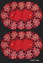 tkcreativelinenswholesale 2PCS 11 x 17 RED Gold Christmas Embroidered Poinsettia Doily Placemat Round