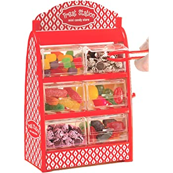 Mini Candy Drawer Dispenser – Holds Gumball Jellybean Small Candy with 6 Drawers Tongs And Treat Bags – Treat Station Candy Holder Party Supplies For Kids