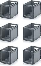 6x Euro Sichtlagerkasten 40 x 30 x 32 cm inkl. gratis Zollstock * Eurobehälter mit Fenster, 6er Set