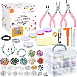 PP OPOUNT Deluxe Jewelry Making Supplies Kit with Instructions Includes Assorted Beads, Charms, Findings, Bead Wire and Co...