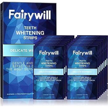 Fairywill Teeth Whitening Strips for Sensitive Teeth - Reduced Sensitivity White Strips, Gentle and Safe for Enamel, Dental 3D Whitestrips Pack of 28 Whitener Strips