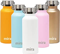 MIRA Alpine Stainless Steel Vacuum Insulated Water Bottle with 2 Lids, Sports Thermos Flask Keeps Cold 24 Hours, Hot 12 Hours (17 Ounce, White)