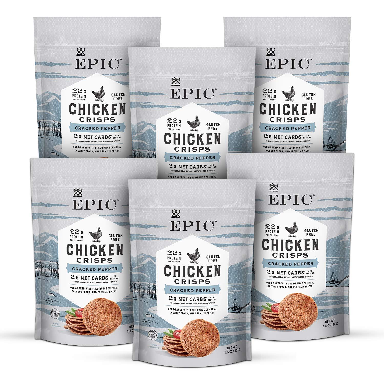 Epic Cracked Pepper Chicken Crisps Keto Friendly 5 ☆ popular 1.5 oz Pack Popular product