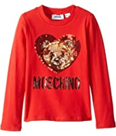 Moschino Kids - Long Sleeve Teddy Bear Heart Logo T-Shirt (Little Kids/Big Kids)