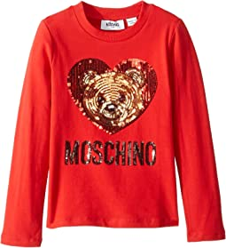 Long Sleeve Teddy Bear Heart Logo T-Shirt (Little Kids/Big Kids)