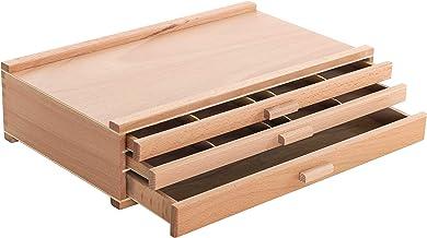 US Art Supply 3-Drawer Artist Wood Pastel Pen Marker Storage Box