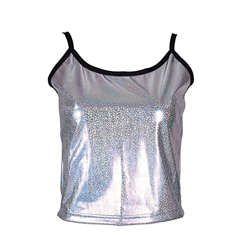 35659fdc55965 BFD One Ladies Womens Shiny Metallic Silver Or Gold Vest Top One Size Fits  8-