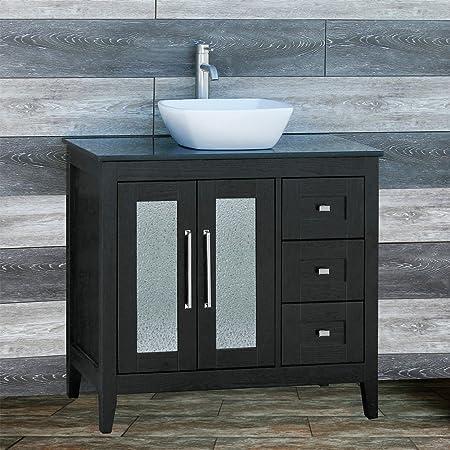 Amazon Com Solid Wood 36 Bathroom Vanity Cabinet Black Granite Top Vessel Sink Tr6 Tools Home Improvement