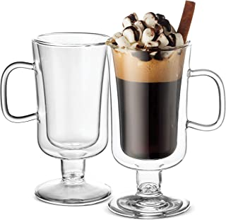 Luigi Bormioli Double Walled Irish Coffee Mugs - 8½ Oz (2 Pack) Insulated Tea Glasses, Drinking Glasses, for Latte, Espresso, Cappuccino, Desert Dish, Thermal Shock Resistant, for Hot - Cold Beverages