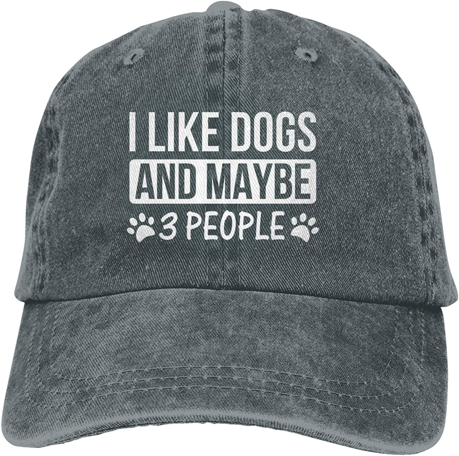 I Like Dogs and Maybe 3 People Dog Lovers Baseball Hat Adjustable Washable Jeans Cowboy Hat Unisex Trucker Cap Dad Hat