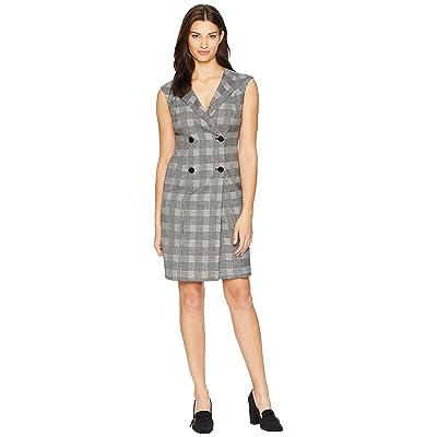 Calvin Klein Cap Sleeve Plaid Coat Dress CD8X26TF (Black/Cream) Women