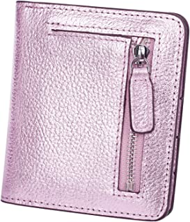 BIG SALE-AINIMOER Women's RFID Blocking Leather Small Compact Bifold Pocket Wallet Ladies Mini Purse with id Window (Rose Gold)