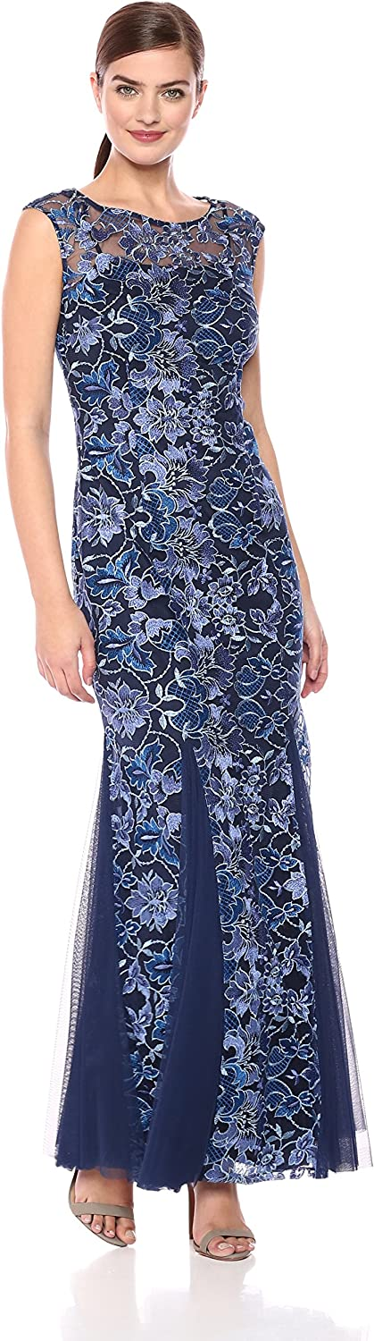 Alex Evenings Women's Long Embroidered Gown with Godet Skirt