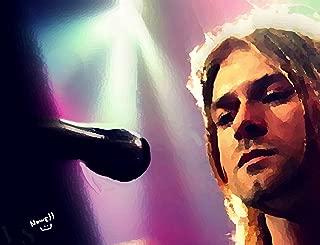 Watercolor Painting Kurt Cobain Poster size 11 x 14 Gloss Paper Digital Art
