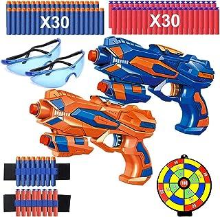 2 Pcs Pistola de Juguete Niños, Pistola Bláster con 60 Flechas/Balas + 2 Gafas Protectoras, Pistola de Dardos Espuma Infan...