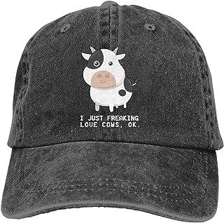 I Just Freaking Love Cows Ok ! Women's Baseball Cap Vintage Distressed Hat