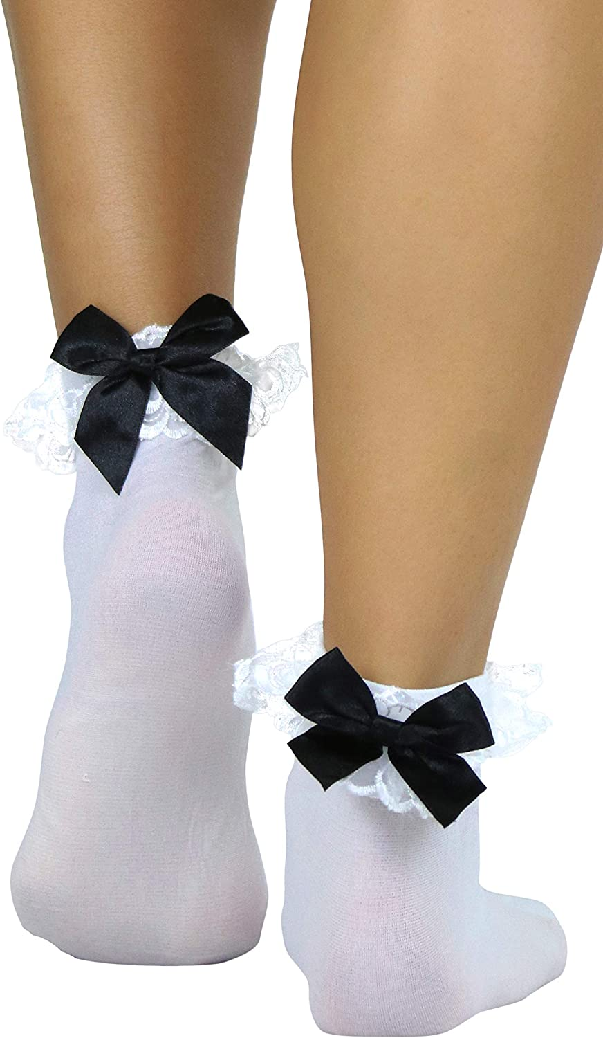 ToBeInStyle Women's Beautiful Lace Ruffle Prim Anklet Opaque Socks w/Satin Bow