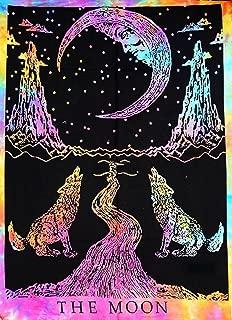 Jaipur Handloom Crying Wolf and Moon Tarot Tapestry Wall Hanging, Indian Cotton Throw Moon Tapestries Hippie Mandala, Boho Bedding Bohemian Bedspread, Yoga Mat Meditation Rugs Twin (54 X 85 inches app