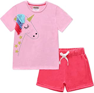 Fiream Girls Cotton Clothing Sets Summer Shortsleeve Unicorn T-Shirts Shorts 2 Pieces Clothing Sets
