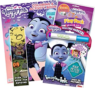 Bundle of 4 Girls Coloring and Activity Items - Bendon Vampirina Coloring Book, Imagine Ink, and Grab & Go Play Pack; KaleidoQuest Over the Moon for Reading Halloween-Theme Colorable Bookmark