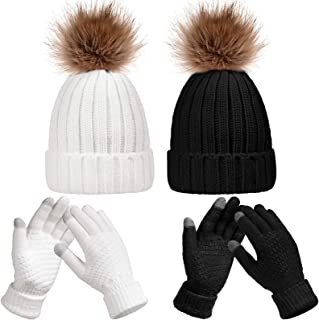 4 Pieces Women Winter Knitted Beanie Hat Glove Set Skull Cap Touchscreen Gloves