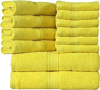 HILLFAIR 12 Piece- 600 GSM Cotton Bath Towels Set - Hotel Spa Towels Set- 2 Bath Towels, 4 Hand Towels, 6 Washcloths- Absorbent Super Soft Cotton Towels Set- Yellow Towel Set- 100% Cotton Towel Set