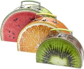 TURBO PRODUKTE Lot de 3 valises pour enfants - Mallette de jeu ronde avec motif fruit melon, orange, kiwi - Idéal pour les...