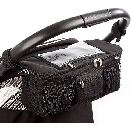 Baby Pram Organiser Buggy Organiser Pram Bag Zip Storage Bag Pushchair with Drink Holder 35 x 8 x 7 cm
